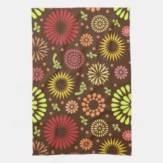 Girasoles coloridos del vintage toalla de mano