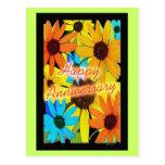 Girasoles coloridos postales