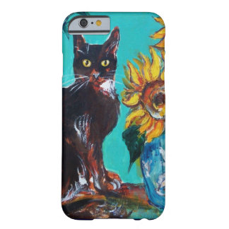 GIRASOLES CON EL CAT NEGRO EN TURQUESA AZUL FUNDA DE iPhone 6 BARELY THERE