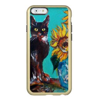 GIRASOLES CON EL CAT NEGRO EN TURQUESA AZUL FUNDA PARA iPhone 6 PLUS INCIPIO FEATHER SHINE