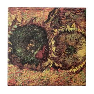 Girasoles cortados de Van Gogh 2, bella arte Azulejo Cuadrado Pequeño