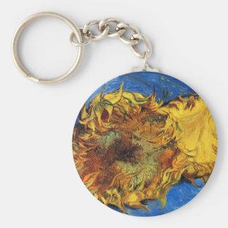 Girasoles cortados de Van Gogh dos, bella arte del Llavero Redondo Tipo Pin