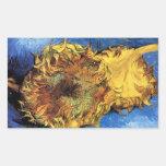 Girasoles cortados de Van Gogh dos Pegatina Rectangular