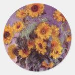 Girasoles de Claude Monet Pegatina Redonda