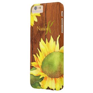 Girasoles de la acuarela en la madera funda barely there iPhone 6 plus