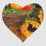 Girasoles de la cosecha de la caída pegatina de corazon personalizadas