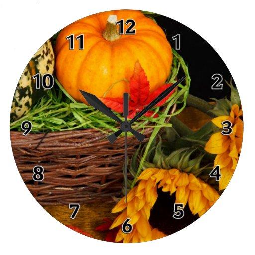 Girasoles de la cosecha de la caída reloj de pared