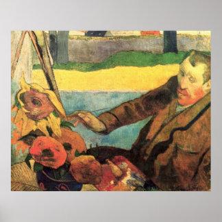 Girasoles de la pintura de Van Gogh por Gauguin Póster