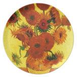 Girasoles de Van Gogh 15 Platos Para Fiestas