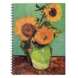 Girasoles de Van Gogh 3 en un arte floral del Libretas Espirales