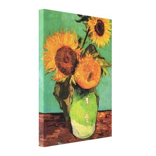 Girasoles de Van Gogh 3 en un arte floral del Impresión En Lona