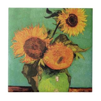 Girasoles de Van Gogh 3 en una bella arte del Azulejo Cuadrado Pequeño