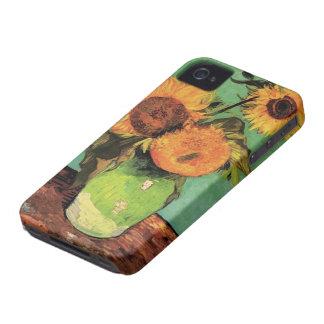 Girasoles de Van Gogh 3 en una bella arte del Carcasa Para iPhone 4 De Case-Mate