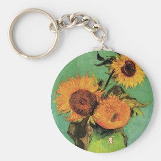 Girasoles de Van Gogh 3 en una bella arte del Llavero Redondo Tipo Pin