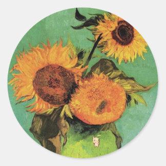 Girasoles de Van Gogh 3 en una bella arte del Pegatina Redonda