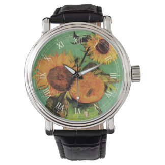 Girasoles de Van Gogh 3 en una bella arte del Reloj De Mano