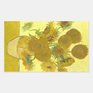 Girasoles de Van Gogh el | el | 1888 Pegatina Rectangular