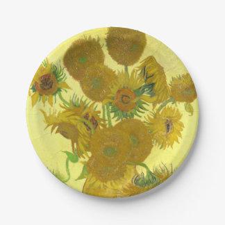 Girasoles de Van Gogh el | el | 1888 Plato De Papel De 7 Pulgadas