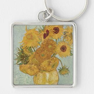 Girasoles de Van Gogh Llavero Cuadrado Plateado