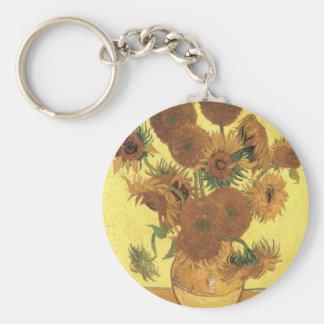 Girasoles de Van Gogh Llavero Redondo Tipo Pin