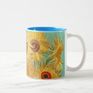 Girasoles de Van Gogh Taza De Dos Tonos