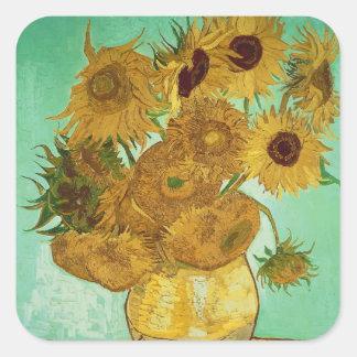 Girasoles de Vincent van Gogh el |, 1888 Pegatina Cuadrada