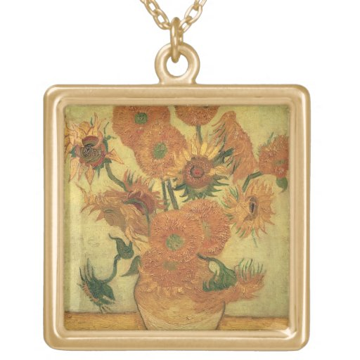 Girasoles de Vincent van Gogh el  , 1889 Collar Dorado