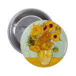 Girasoles de Vincent van Gogh Pin Redondo De 2 Pulgadas