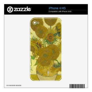 Girasoles de Vincent van Gogh Skin Para El iPhone 4
