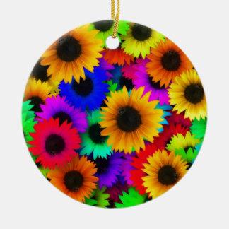 Girasoles del arco iris adorno redondo de cerámica