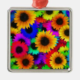 Girasoles del arco iris adorno cuadrado plateado