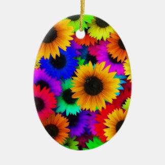 Girasoles del arco iris adorno ovalado de cerámica
