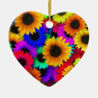 Girasoles del arco iris adorno de cerámica en forma de corazón