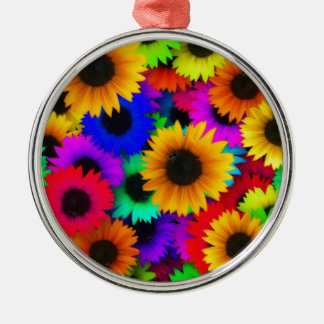 Girasoles del arco iris adorno redondo plateado