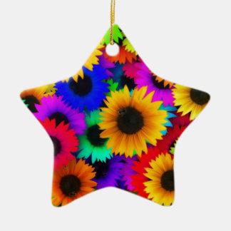 Girasoles del arco iris adorno de cerámica en forma de estrella