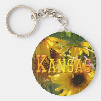 Girasoles del oso de peluche: Kansas Llavero Redondo Tipo Pin