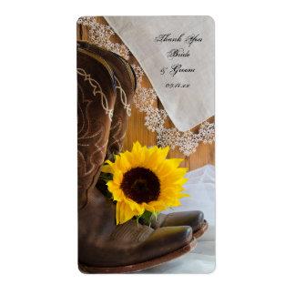 Girasoles del país y etiquetas del favor del boda etiquetas de envío
