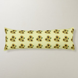 Girasoles del vintage en la almohada del cuerpo de