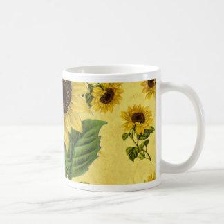 Girasoles del vintage taza