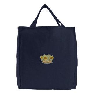 Girasoles en cesta bolsa bordada