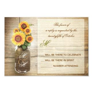 girasoles en el vintage del tarro de albañil que invitación 8,9 x 12,7 cm