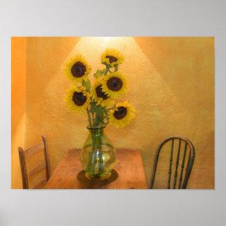 Girasoles en florero en el cuadro 2 póster