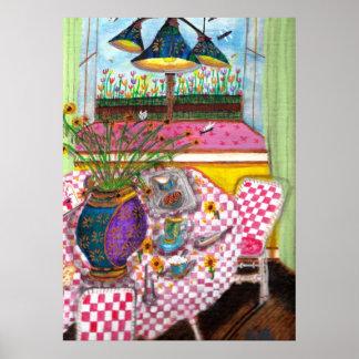 Girasoles en la mesa de desayuno póster
