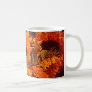 Girasoles en lona tazas de café