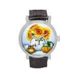 Girasoles en reloj del florero