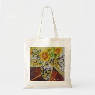Girasoles en un florero italiano bolsas lienzo
