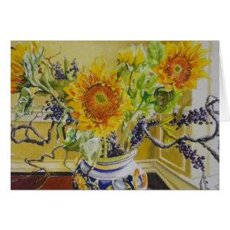 Girasoles en un florero italiano tarjeta de felicitación