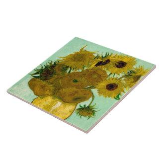 Girasoles en una bella arte de Van Gogh del Azulejo Cuadrado Grande