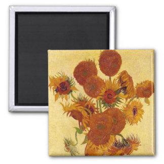 Girasoles en una bella arte de Van Gogh del Imán Cuadrado
