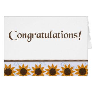 Girasoles - enhorabuena - personalizar tarjeta de felicitación